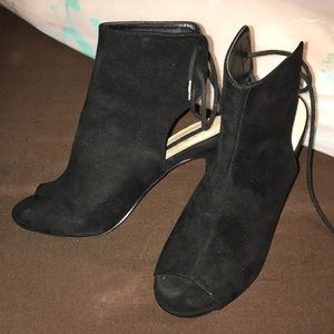 Black suede peep toe booties